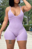 Pink Sexy Casual Solid Backless Spaghetti Strap Skinny Romper