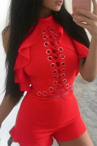 Red Sexy Solid Hollowed Out Half A Turtleneck Skinny Jumpsuits