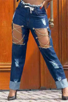 Blue Fashion Casual Solid Ripped Hollowed Out Chains High Waist Regular Jeans