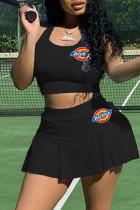 Black Sexy Sportswear Embroidery Basic U Neck Sleeveless Two Pieces