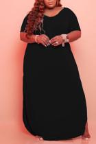 Black Casual Solid Split Joint Slit V Neck Straight Plus Size Dresses