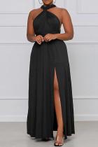 Black Fashion Casual Plus Size Solid Bandage Backless Slit V Neck Sleeveless Dress