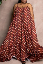 Brown Sweet Print Split Joint Spaghetti Strap Sling Dress Dresses