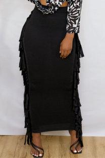 Black Fashion Casual Tassel Regular High Waist Skirt