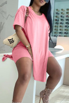 Pink Street Solid Split Joint Slit O Neck Short Sleeve Two Pieces