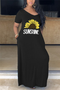 Black Fashion Casual Plus Size Short Sleeve V Neck Printed Dress Floor Length Print Dresses