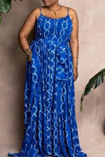 Blue Sweet Print Split Joint Spaghetti Strap Sling Dress Dresses