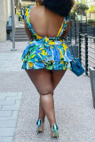 Blue Sexy Casual Print Backless Square Collar Sleeveless Two Pieces