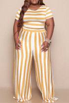 Yellow Fashion Casual Striped Print Basic O Neck Plus Size Two Pieces