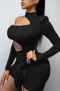 Black Sexy Solid Bandage Hollowed Out Split Joint Asymmetrical O Neck Pencil Skirt Dresses
