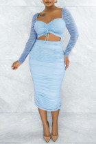 Baby Blue Fashion Sexy Solid Split Joint Fold Square Collar Long Sleeve Two Pieces