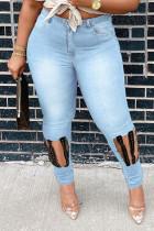 Light Blue Fashion Casual Patchwork Ripped Hollowed Out High Waist Regular Denim Jeans