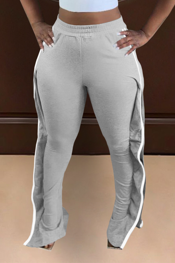 Grey Casual Solid Split Joint Boot Cut High Waist Speaker Solid Color Bottoms
