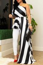 Black Street Striped Print Split Joint Asymmetrical Oblique Collar Irregular Dress Dresses