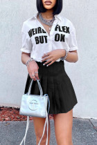 Black Fashion Casual Letter Print Basic Turndown Collar Short Sleeve Two Pieces