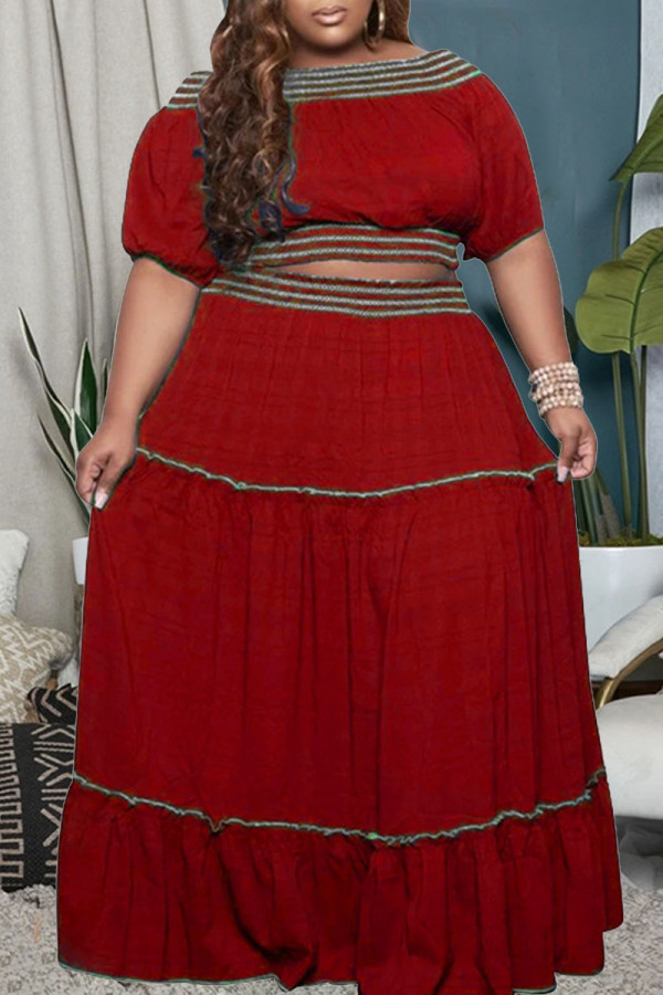 Red Casual Solid Split Joint Off the Shoulder Straight Plus Size Two Pieces