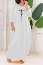 White Casual Letter Print Split Joint O Neck Long Sleeve Plus Size Dresses
