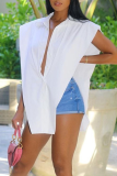 White Casual Solid Split Joint Turndown Collar Tops