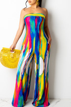 Yellow Sexy Print Bandage Split Joint Strapless Straight Jumpsuits