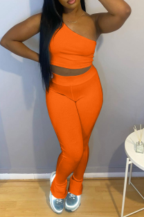 Tangerine Red Casual Solid Split Joint One Shoulder Sleeveless Two Pieces