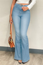 Light Blue Fashion Casual Solid Basic Plus Size Jeans