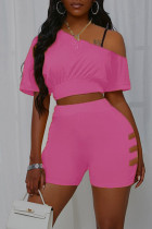 Rose Red Casual Solid Split Joint O Neck Short Sleeve Two Pieces