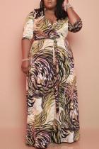 Yellow Elegant Print Bandage Split Joint V Neck Straight Plus Size Dresses