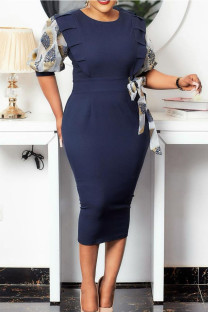 Blue Gray Casual Print Split Joint With Bow O Neck Pencil Skirt Dresses