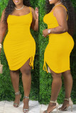Black Fashion Sexy Plus Size Solid Draw String Backless Spaghetti Strap Sleeveless Dress