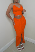 Orange Fashion Sexy Solid Bandage Hollowed Out Asymmetrical Halter Sleeveless Two Pieces