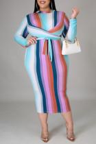 Light Blue Sexy Striped Print Bandage Split Joint O Neck A Line Plus Size Dresses