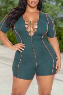 Ink Green Fashion Casual Solid Bandage V Neck Plus Size Romper