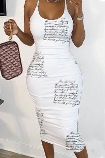 Letter Print Sexy Print Split Joint Backless Spaghetti Strap Pencil Skirt Dresses