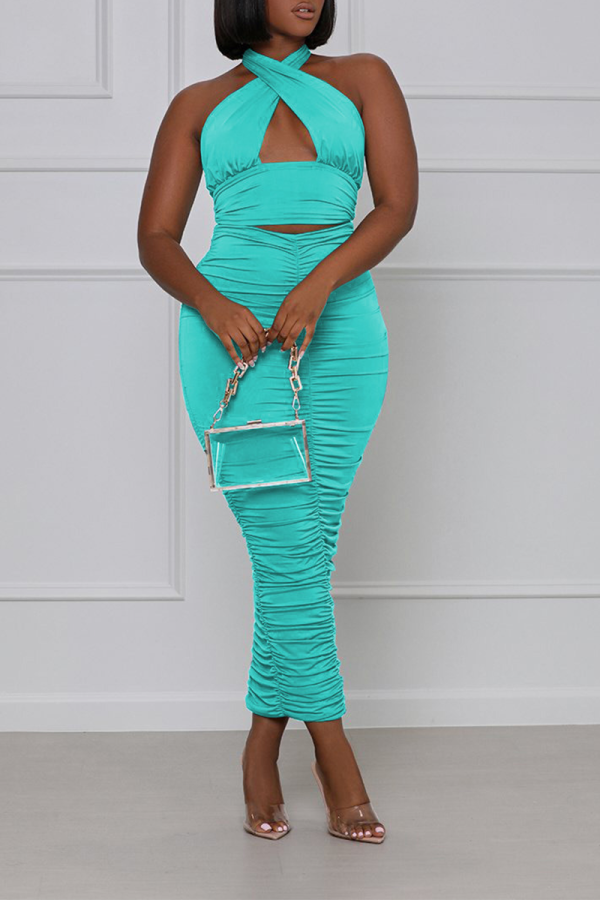 Light Blue Sexy Solid Split Joint Halter Sleeveless Two Pieces