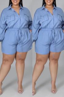 Blue Fashion Casual Solid Basic Turndown Collar Plus Size Romper