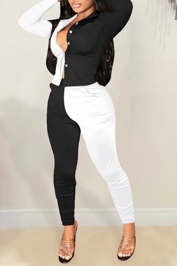 Black Casual Solid Split Joint Turndown Collar Long Sleeve Two Pieces
