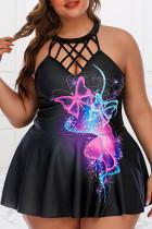 Black Fashion Sexy Print Hollowed Out Backless O Neck Plus Size Swimwear