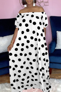 White Fashion Casual Dot Print Backless Off the Shoulder Short Sleeve Dress