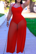 Red Sexy Solid Mesh Halter Loose Jumpsuits