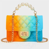 Orange Blue Fashion Casual Gradual Change Chains Pearl Messenger Bag