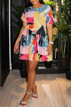 Light Color Casual Print Split Joint Fold O Neck Straight Dresses