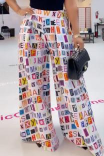 Multi-color College Print Split Joint Loose High Waist Wide Leg Full Print Bottoms