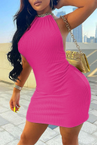 Rose Red Sexy Solid Split Joint Halter Pencil Skirt Dresses