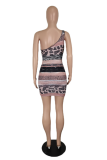 Brown Sexy Print Hollowed Out Spaghetti Strap Pencil Skirt Dresses