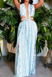 Blue Sexy Print Bandage Hollowed Out Backless Zipper Halter Beach Dresses
