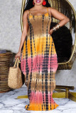 Khaki Sexy Casual Print Tie Dye Backless Spaghetti Strap Sleeveless Dress