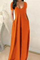 Tangerine Red Casual Solid Split Joint Pocket V Neck Short Sleeve Dress Dresses