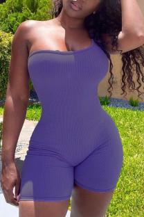 Purplish Blue Casual Solid Split Joint One Shoulder Skinny Jumpsuits