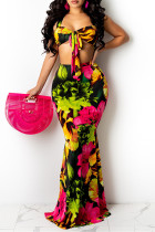 Multicolor Fashion Sexy Print Bandage Backless Halter Sleeveless Two Pieces