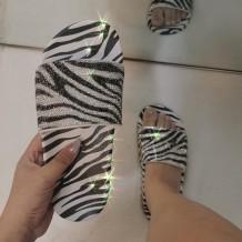 Black White Fashion Casual Split Joint Rhinestone Comfortable Slippers